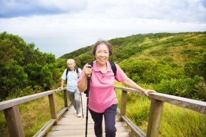 healthy senior couple hiking