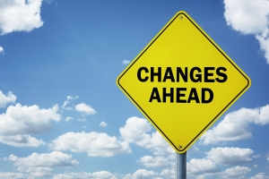 Street sign saying changes ahead