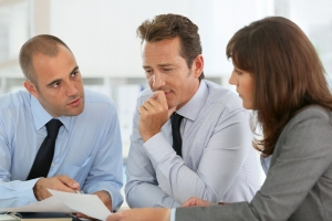 Business people reviewing a document
